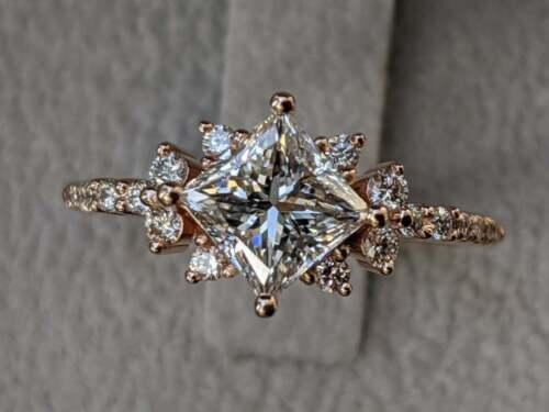 2.90Ct Princes Cut VVS1//D Diamond Vintage Engagement Ring 14K Rose Gold Finish