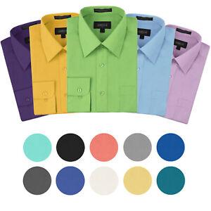 Omega-Italy-Men-039-s-Premium-Designer-Long-Sleeve-Solid-Regular-Fit-Dress-Shirt