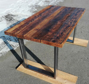 Details about Industrial Dining Table Vintage Kitchen Table Metal Wood  Handmade Unit Furniture