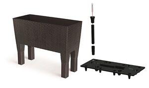 blumenkasten rattan optik mit f en bew sserung in 4. Black Bedroom Furniture Sets. Home Design Ideas