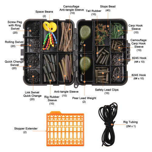 217pcs Carp Fishing Tackle Accessories Kit Carp Hook Sleeves Swivels Stop Beads