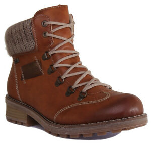a3e37a6cd0 Rieker Z0444 24 Women Lace up Tan Hiker Boot Size UK Siz e 3 - 8 | eBay