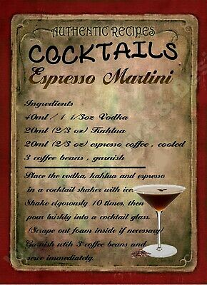 Retro Metal Plaque Espresso Martini Sign Ad Ebay