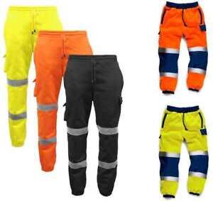 Standsafe-Hi-Vis-Viz-Correr-Pantalones-Pantalones-Chandal-Sudor-Pantalones-Ferrocarril-GO-RT