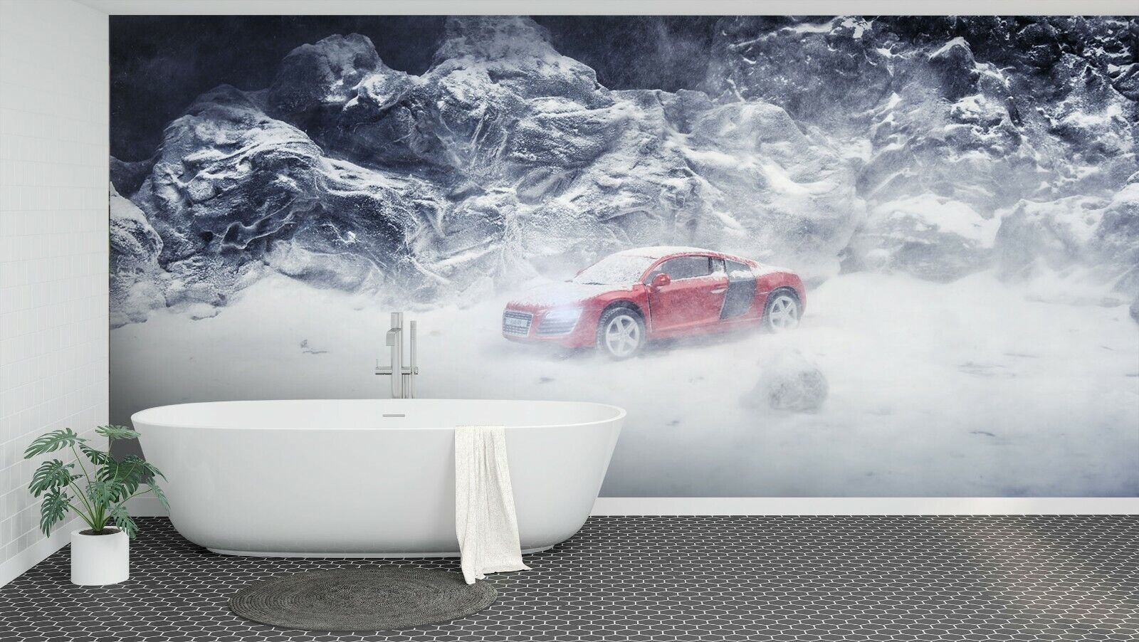3D Snow Car N607 Transport Wallpaper Mural Self-adhesive Removable Amy