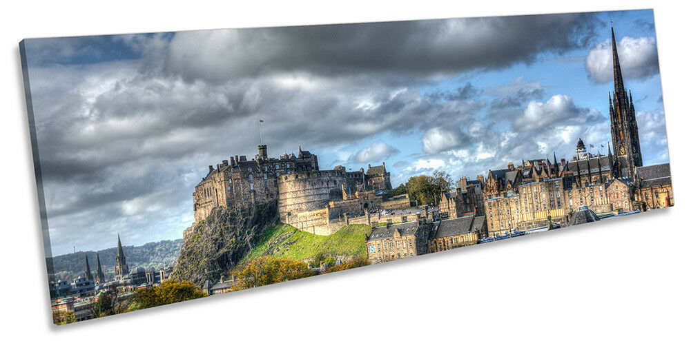 Edinburgh Castle Skyline Picture PANORAMA CANVAS WALL ART Print