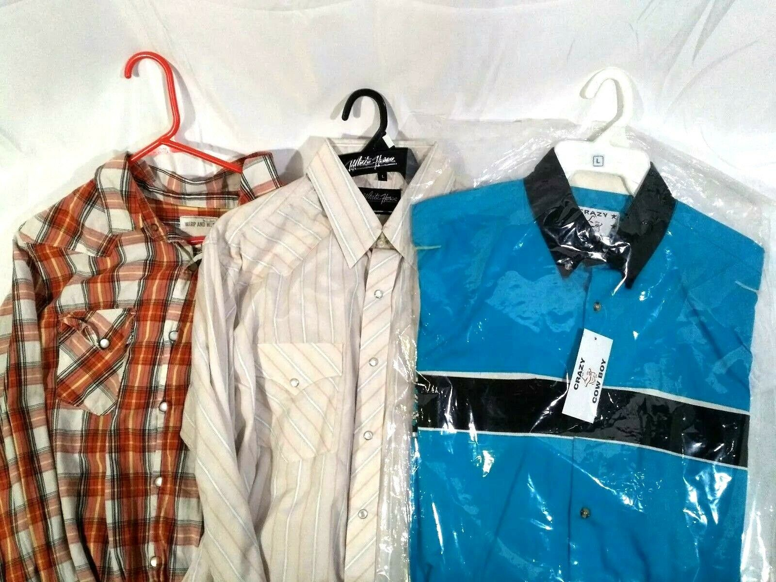 Mixed Lot of 3 Western Long Sleeve 2 Pearl Snap Button Down 1 Embroidered