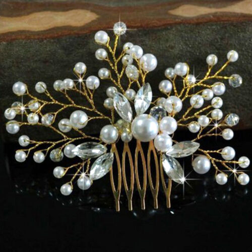 2512 EF37 Pearl Hair Combs Bride Wedding Fahion Hair Accessories Ornaments Gifts