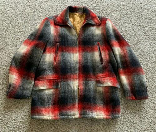 Vintage 40s / 50s Workwear Wool Shadow Plaid Coa