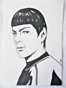 A4-Art-Marker-Pen-Sketch-Drawing-Zachary-Quinto-as-Spock-from-Star-Trek-Poster