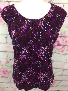 Unlisted-Kenneth-Cole-Womens-Sleeveless-Blouse-Size-XL-Hot-Plum