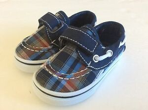 Baby Toddler Boy Blue Canvas Boat Shoes Loafer Size 7 Slip