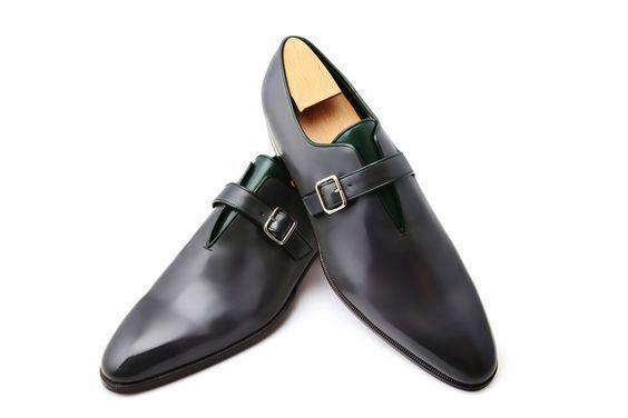 disegni esclusivi nero Colore Genuine Leather Leather Leather Monk Double Buckle Strap Plain Cap Toe scarpe for Men  spedizione veloce a te