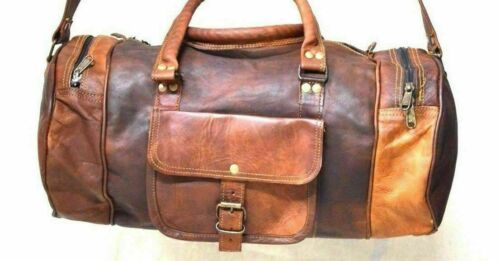 Men/'s Brown Vintage Genuine Travel Luggage Duffel Gym Bags Tote Goat Leather Bag