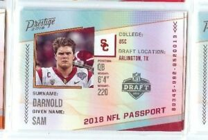 74db11aed326 Details about SAM DARNOLD 2018 PANINI PRESTIGE FOOTBALL NFL PASSPORT #PP-SD  USC TROJANS