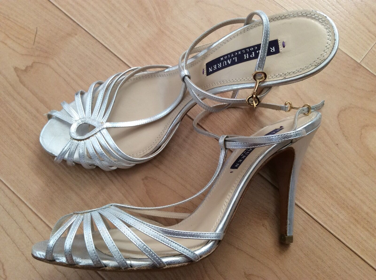 Ralph Lauren Collection Metallic Leather T-Strap Sandal Silver Sz 9.5  Made