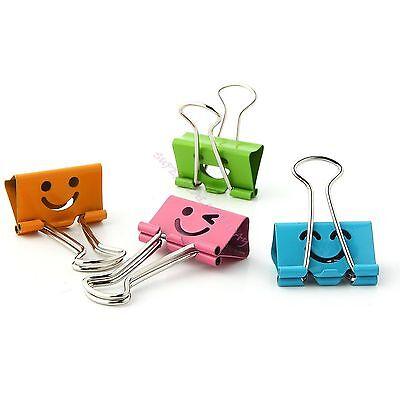 5 X Smiling Office 19mm Width Metal Binder Clips Impression File Paper Organizer
