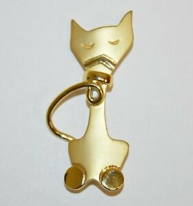 Kim Craftsmen NY Mid Century Modernist Silver Tone Cat Brooch Pin