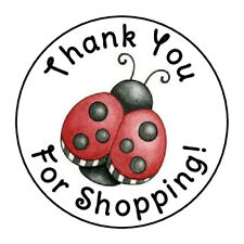 """24 PINK ROSE THANK YOU FOR SHOPPING FAVOR LABELS ROUND STICKERS 1.67/"""" *"""