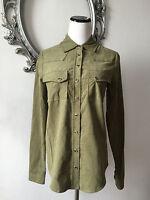 $195.00 Haute Hippie Haute Hoodie Shirt Top Blouse Military Size Xs 100% Cotton
