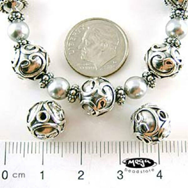 BALI 925 STERLING SILVER Handmade Round Bead 10mm B65- 1 pc
