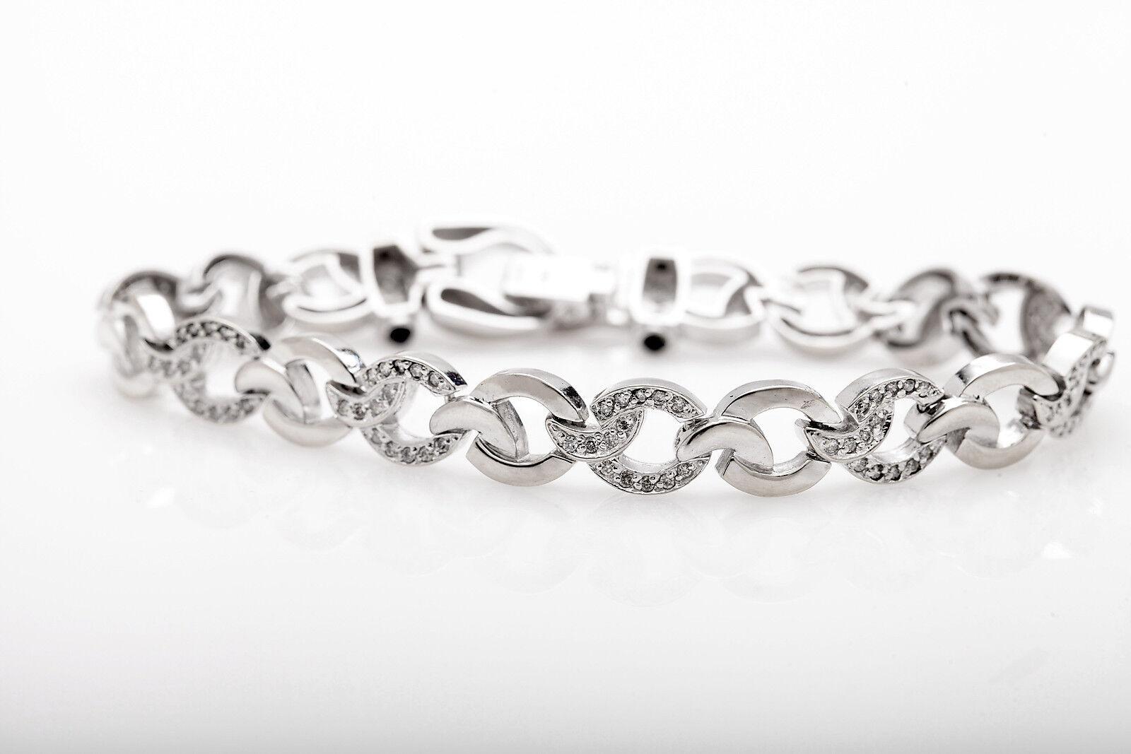 Designer  10,000 3ct Diamond ONYX 14k White gold FANCY LINK Bracelet 25g