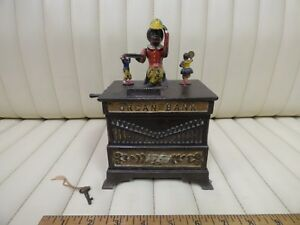 Cast-Iron-034-Organ-Bank-034-Boy-and-Girl-Mechanical-Bank-Toy-by-Kyser-amp-Rex-c-1882