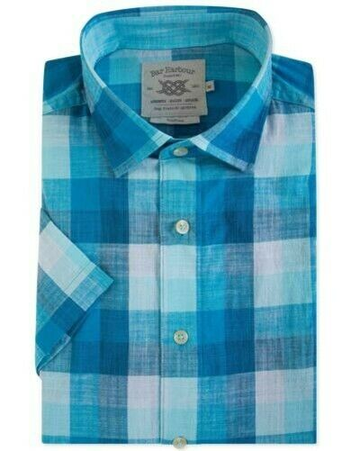 Bar Harbour Light Cotton Slub SS Smart Casual Shirts (0325) in bluee Turquoise