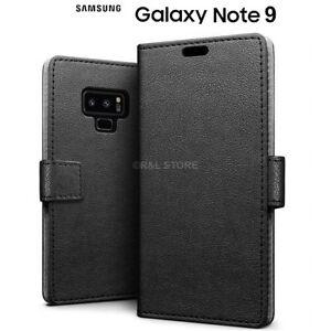 Coque pour Samsung Galaxy Note 9 Étui Portefeuille en Cuir Noir Cuir Coque