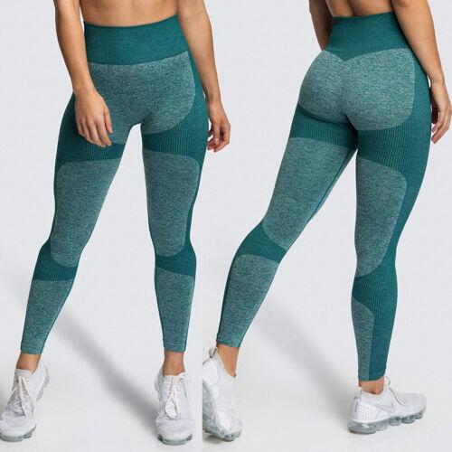Womens High Waist Sport Pants Seamless Yoga Leggings Scrunch Booty Gym Trousers