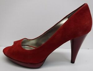 Style-amp-Co-Size-9-5-Red-Leather-Open-Toe-Heels-New-Womens-Shoes