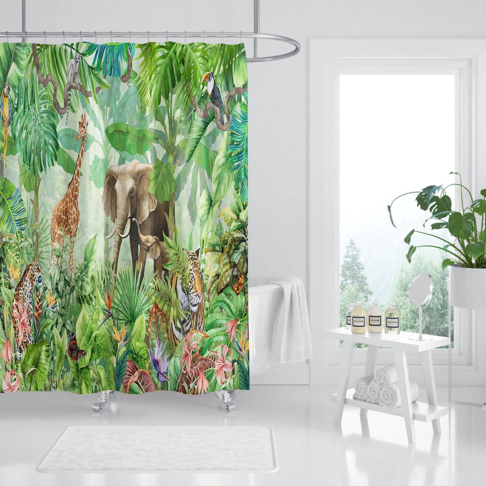 3D animaux forêt 78 Rideau de Douche Imperméable Fibre Salle De Bain Windows Toilette