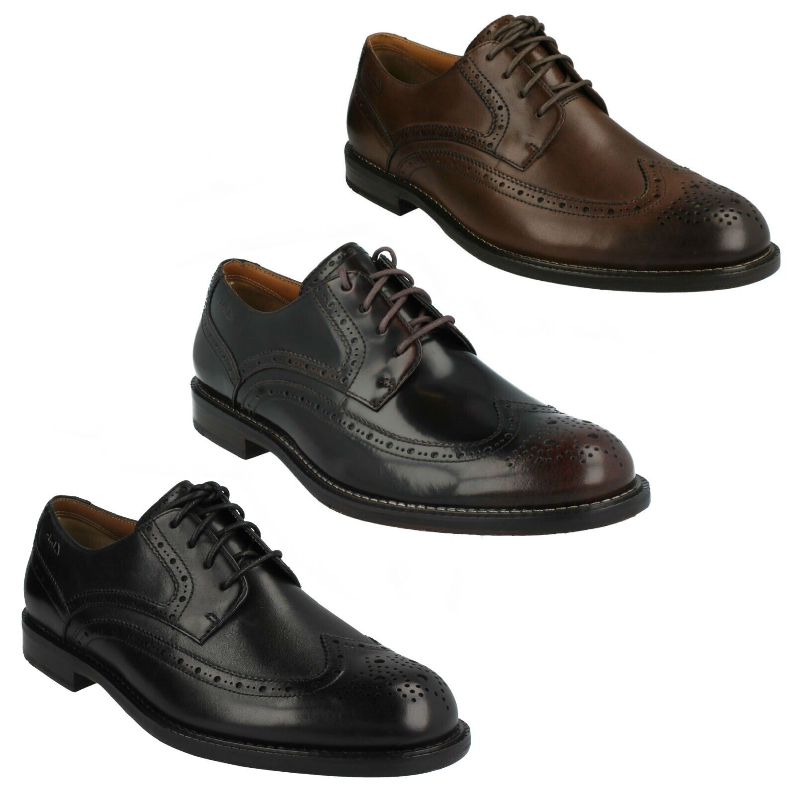 DORSET LIMIT MENS CLARKS SMART LEATHER FORMAL LACE UP PUNCHED BROGUES schuhe Größe