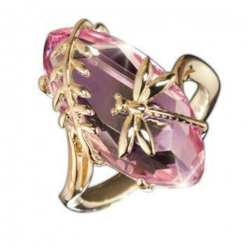 Women 18K Gold Huge Pink Green Crystal Ring Dragonfly Wedding Jewelry Gift Sz6-9