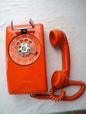 Vintage Stromberg Carlson ITT Orange Rotary Wall Phone