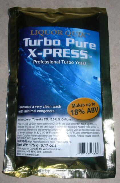 TURBO YEAST TURBO PURE X-PRESS 18-25% ABV DISTILLERS YEAST MOONSHINE ROCKET FUEL