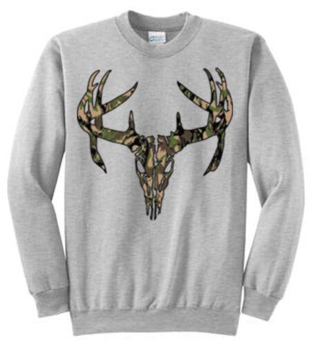 4XT Deer Skull Camo Printed Sweatshirts Adult Sizes S 4XL and Tall Sizes LT