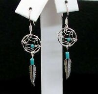 Small Dream Catcher Feather Hook Sterling Silver Earrings Native American Style