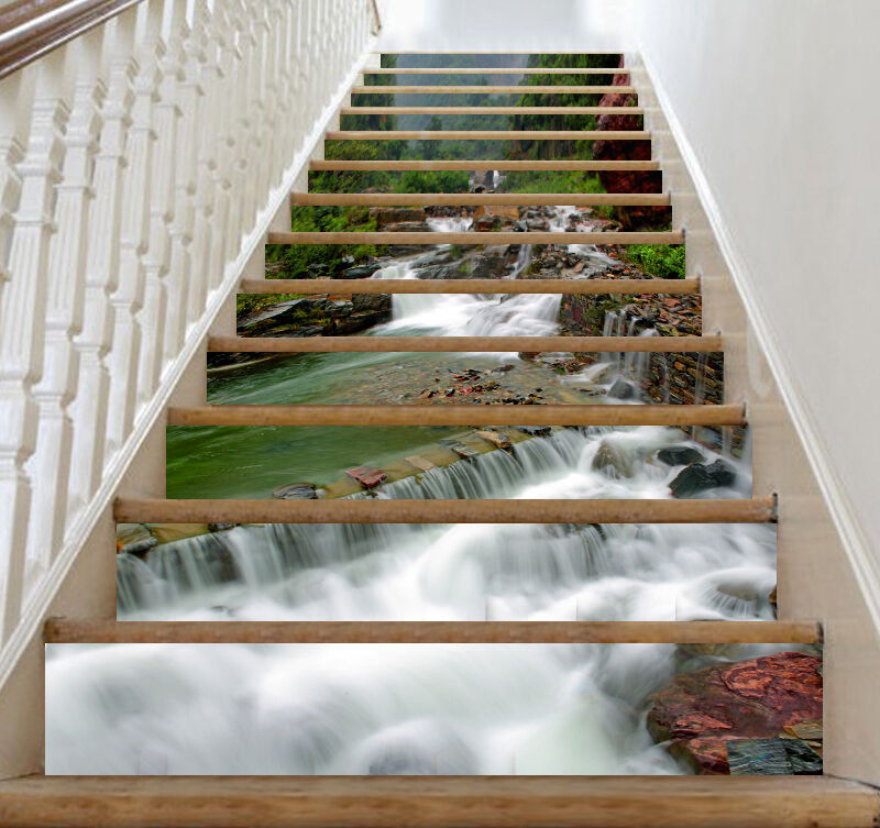 3D Woods, river 366 Stair Risers Decoration Photo Mural Vinyl Decal Wallpaper AU
