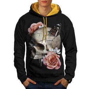 fiori con Felpa Men cappuccio cappuccio oro New Skull Rose Black qOqaE6r