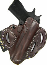 TAGUA PREMIUM DELUXE 3-SLOT BROWN LEATHER OPEN TOP BELT HOLSTER - CHOOSE GUN