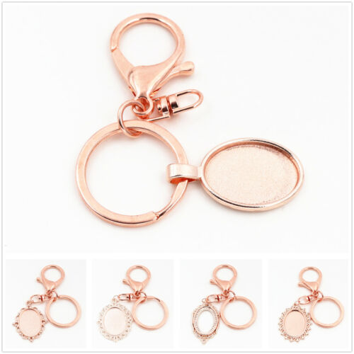 Rose Gold Plated Keyring with 18x25mm Cabochon Setting2pcs5 Styles