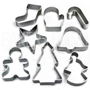 Christmas-Set-of-8-Metal-Cookie-Cutters-Star-Tree-Bell-Angel-Candy-Cane-Biscuit
