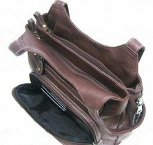 Leather Concealed Carry Gun Purse Concealment Bag w Locking Zipper CCW CWP Brown