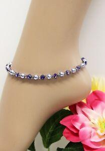 Glass Jewels Silber Fußkettchen Perlen Blau Türkis Strand Länge 26,5 cm #J082