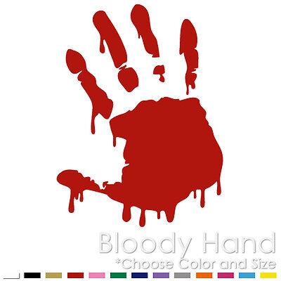 Self Adhesive Transparent Vinyl Sticker 4 x Halloween Bloody Hand print
