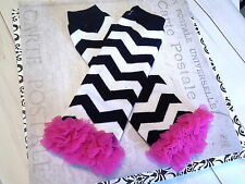 baby girl leg warmers infant child black chevron with hot pink  arm warmers