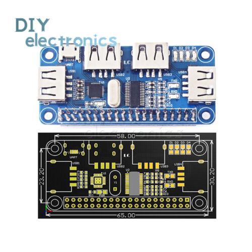 4 Port USB HUB HAT Expansion Board Raspberry Pi 3 Model B //Zero V1,3//Zero W US