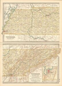Details about 1903 ANTIQUE MAP- USA, TENNESSEE, WESTERN AND EASTERN PARTS
