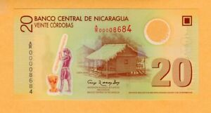 Nicaragua Replacement Polymer UNC 20 Cordobas Banknote 2007 P-202r1